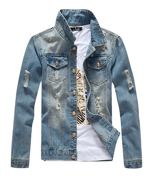 ShiFan Hombre Clásico Chaqueta De Mezclilla Retro Rasgada Chaqueta Vaquera Jeans Jacket: Amazon.es: Ropa y accesorios