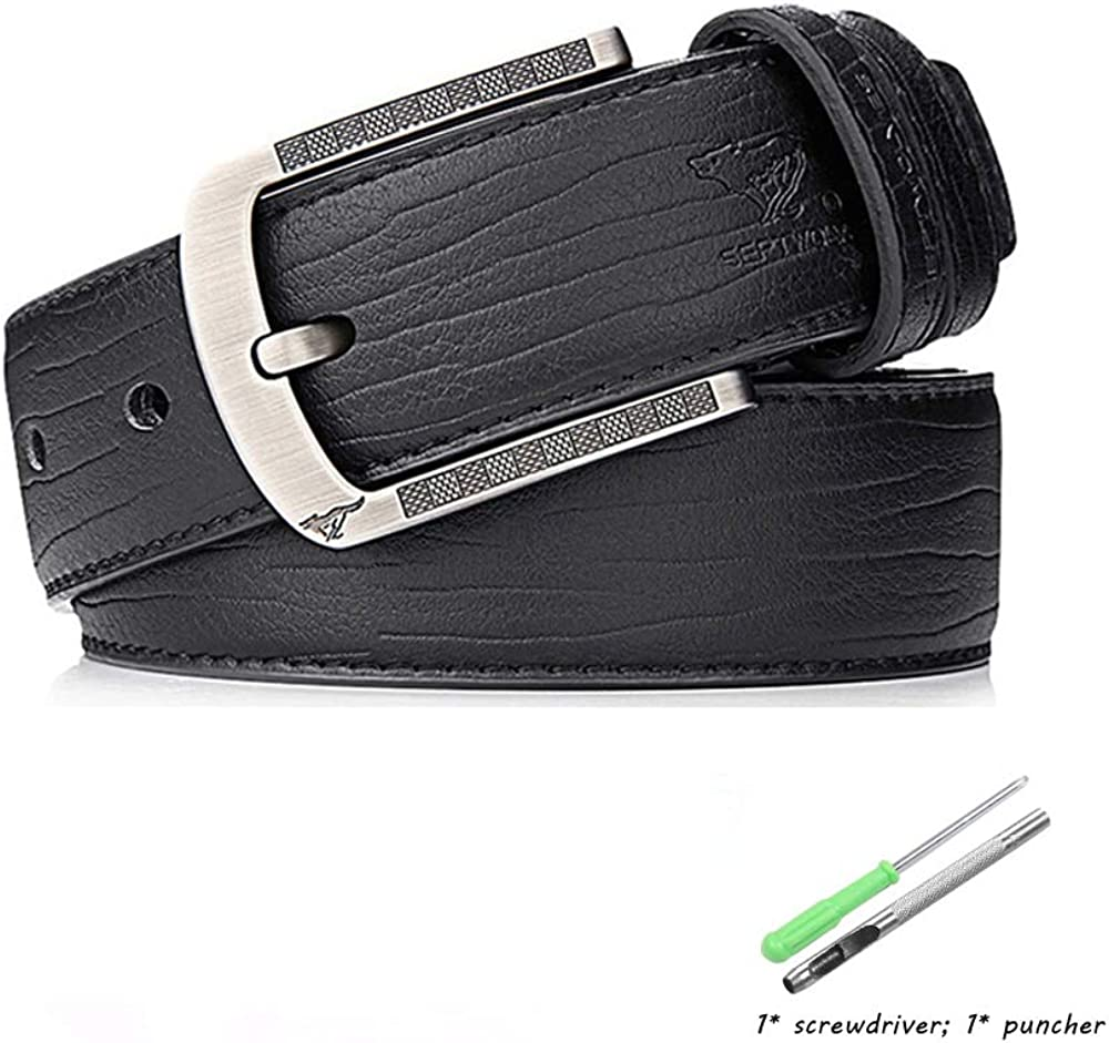 SEPTWOLVES Mens Pin Buckle Belt Genuine Leather Antique Casual Style Waist Belt
