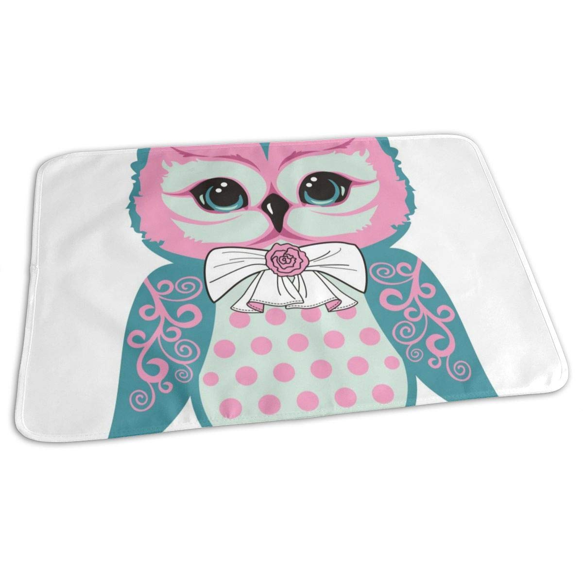 Osvbs Lovely Baby Reusable Waterproof Portable Owl Cubs Have Bows and Roses Changing Pad Home Travel 27.5''x19.7'' by Osvbs