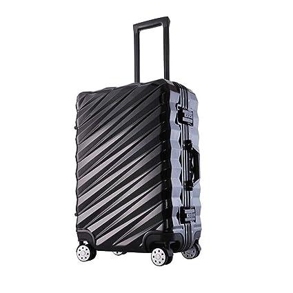Hongsheng Maletín de Trolley-Personalidad Marco de Aluminio Maleta multifunción,Black4,28