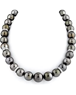 womens AAA 17 inches round cultured 13-15mm south sea black gray pearl necklace 14K white gold clasp