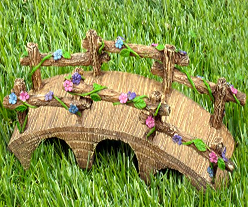 The Magical Garden Fairy Bridge with Hand Painted Flowers & Vines by Twig & Flower (Twig Log)