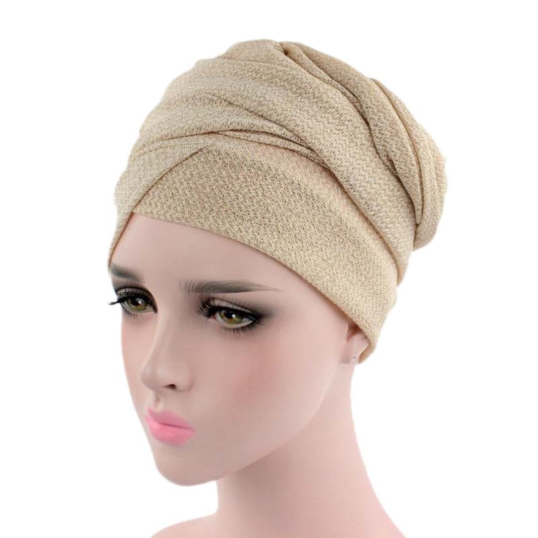 d71c5d605a Women s Muslim Stretch Elastic Scarf Hat Stretch Turban Head Scarves  Headwear Bandana for Cancer Chemo (Beige) at Amazon Women s Clothing store