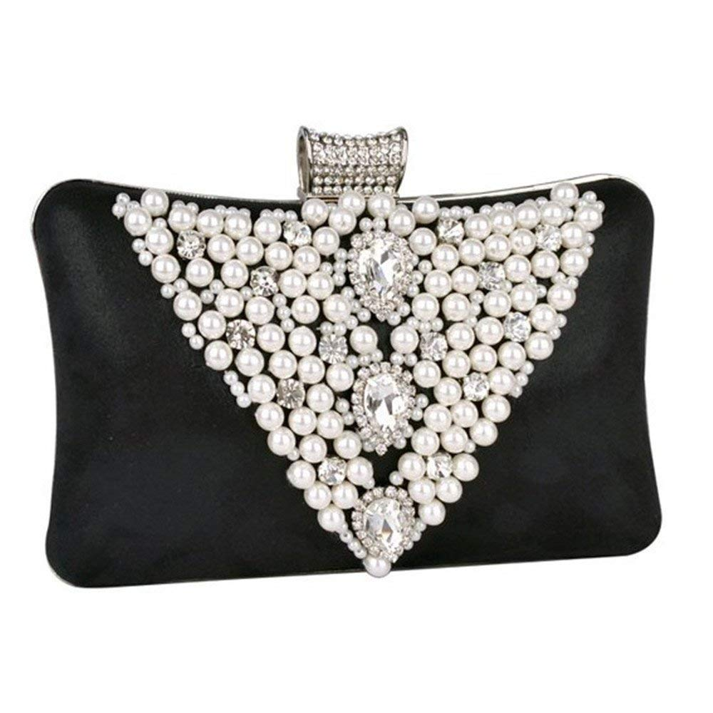 Ladies Handbag Ladies Evening Bag Handbag Prom Bag Purse Women Fashion Evening Clutch Purse Wedding Handbags Party Clutch Bag (color   Black)