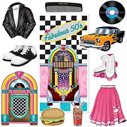 The Fabulous 50s Door Cover Party Accessory and Rock n Roll Poodle Party Cutouts Bundle | Featuring Jukebox, Poodle Skirt, Roller Skates and More ()
