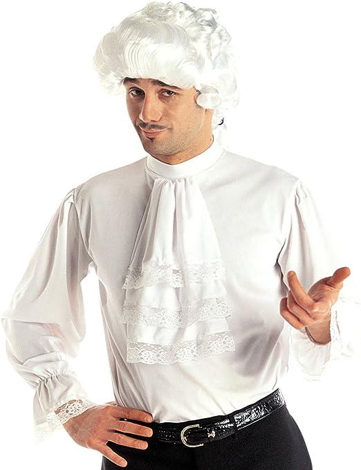 Amakando Camiseta Medieval Camisa de Volantes Blanca M/L 50/52 Ropa Medieval Hombre Disfraz Noble Renacimiento Camiseta Masculina barroca con Vuelo Vestimenta Vampiro: Amazon.es: Juguetes y juegos