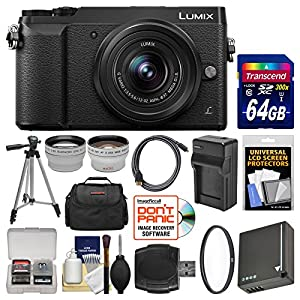 Panasonic Lumix DMC-GX85 4K Wi-Fi Digital Camera & 12-32mm Lens with 64GB Card + Case + Battery & Charger + Tripod + Tele/Wide Lens Kit