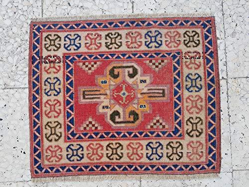 Nearly Square Floor Mat, Wall Hanging Tapestry, Unique Carpet, Caucasian Kazak Geometric Rugs, Small Bohemian Wool Rug 24'' X 20'' (63 x 51 Cm)