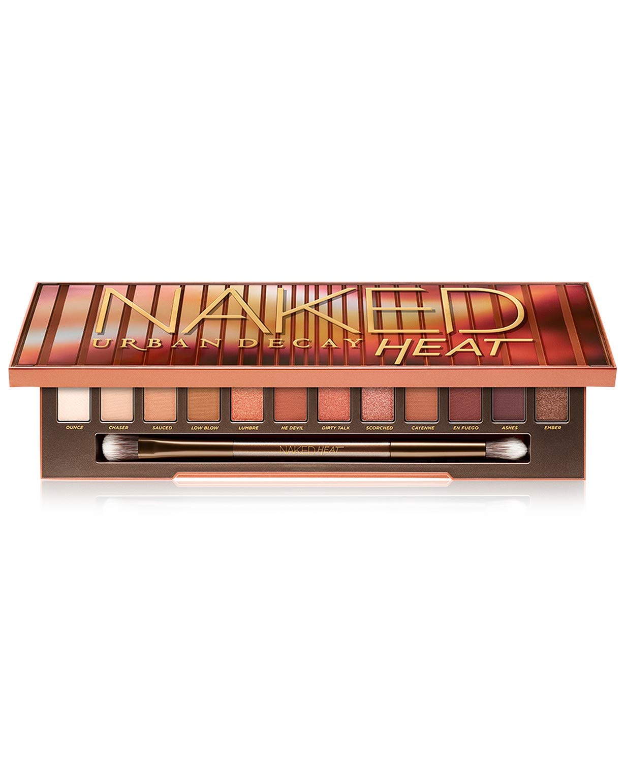 URBAN DECAY Naked Heat Eye Palette (12 X 0.05 Eyeshadow + Double Ended Blending/Detailed Crease Brush) 0.05 Ounce/1.45g, multi-color