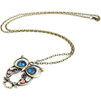 Fashion Jewelry Vintage Colors Hollow Cute Owl Pendant Necklace Retro Hollow Carved Sweater Chain For Women Long Necklace-Bronze
