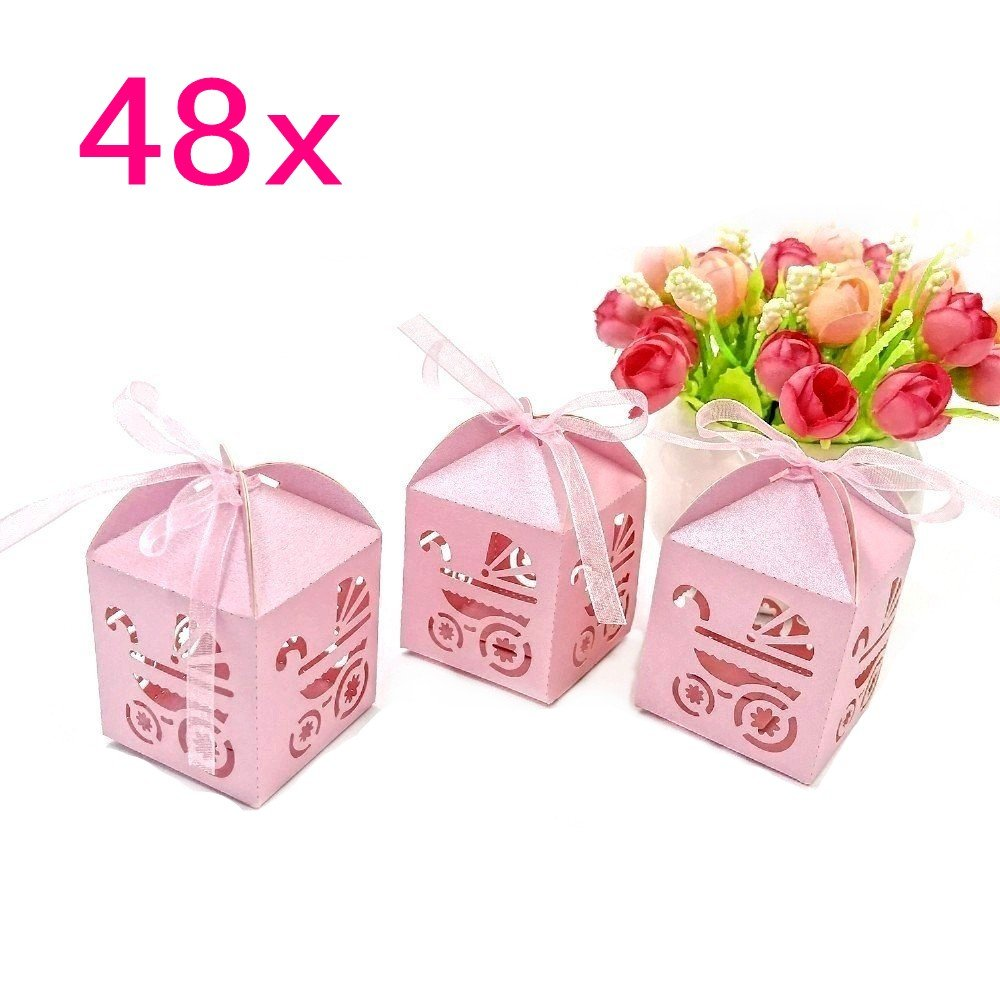 JZK 50 x Silver Stripe, Party Wedding Favour Boxes Gift Box for ...