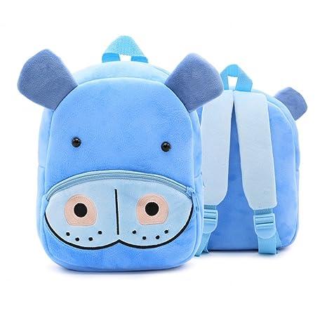 XLHMILY Mini dibujos animados 3D Mochila Infantiles Niños mochila animal hipopótamo unicornio mochila algodón de jardín