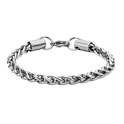 d283b18ec Image Unavailable. Image not available for. Color: Jewelry Brands Women's  Stainless Steel Shiny Wheat Chain Bracelet