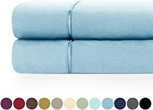 Zen Home Luxury Flat Sheet (2-Pack) - 1500 Series Luxury Brushed Microfiber w/ Bamboo Blend Treatment - Eco-friendly, Hypoallergenic and Wrinkle Resistant- Cal King - Sky Blue