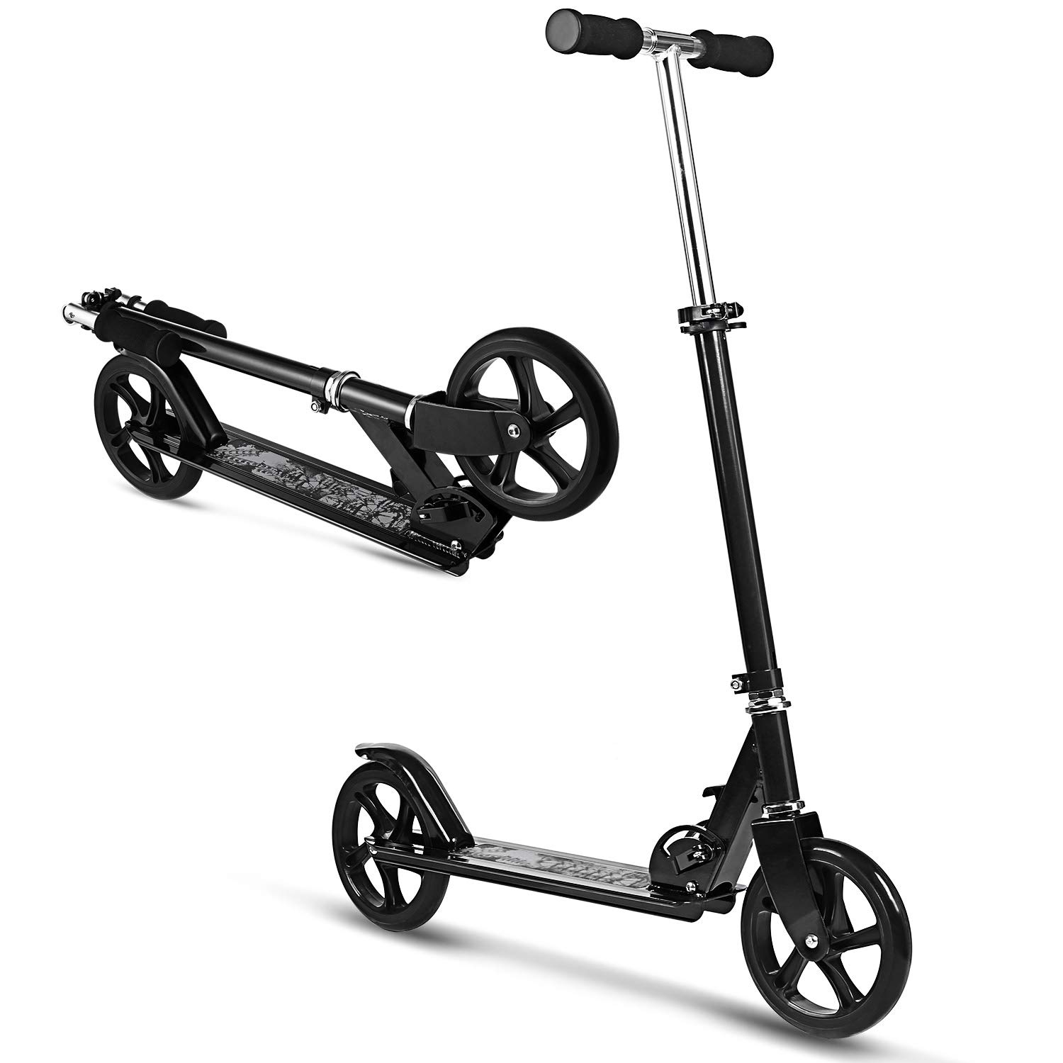 WeSkate Scooter for Adults/Teens, Big Wheels Scooter Easy Folding Kick Scooter Durable Push Scooter Support 220lbs Suitable for Age 8 Up Teens/Adults (Black Without Suspension) by WeSkate