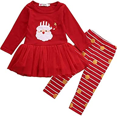 USA Christmas Infant Toddler Girls Long Sleeve Ruffle Pom Pom Top Pants Outfit
