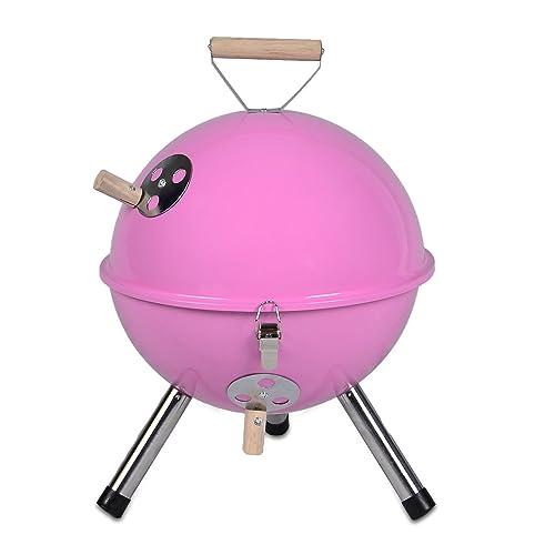 Mini Grill Kugelgrill Holzkohlegrill für Garten Terrasse Camping Festival Picknick BBQ Barbecue - 30 cm pink