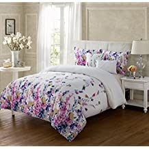 Full/Queen Size Comforter Set in Multicolor Bohemian Style Floral 5 Pc Set w/ Decorative Pillows