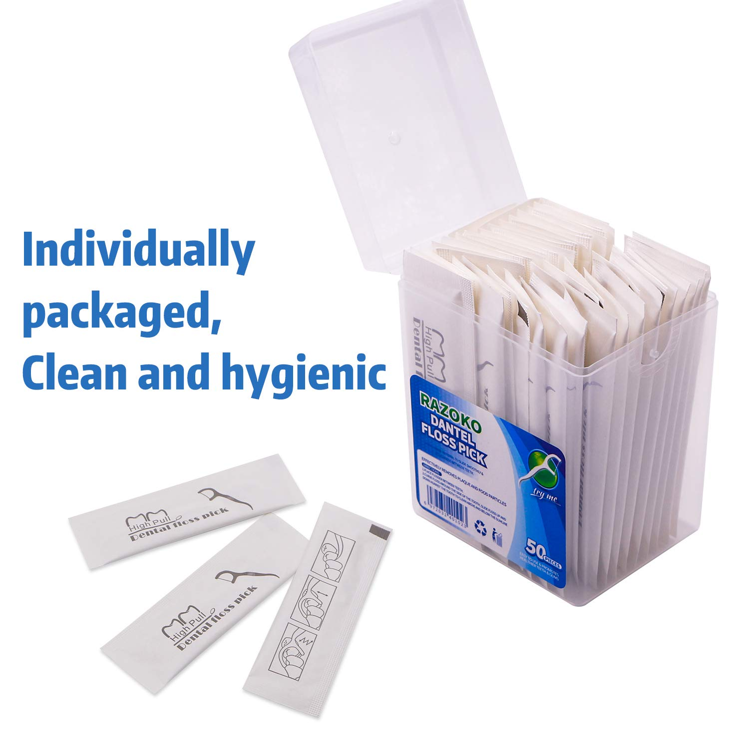 Dental Floss Picks, High Toughness Toothpicks Sticks 250PCS Clean/Heathy with Portable Travel Case Individual Package and Dentalpicks Perfect for Family,Hotel,Travel