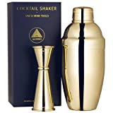 Cocktail Shaker Set by ALOONO: 18oz Weighted Martini Shaker and Japanese Jigger (0.5oz - 2oz), 18/8 Professional Stainless Steel Cocktail Set with Recipes and Greeting Card - Gold Plated