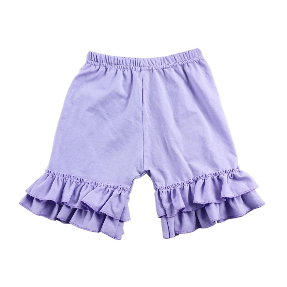 Wennikids Toddler Baby Girls Cotton Double Ruffle Shorts Pants 1-8t