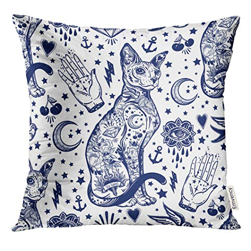 UPOOS Throw Pillow Cover Blue Ink Vintage Style Traditional Tattoo Flash Magic Inked Cat Doodle Trendy Stylish Old School Artwork Decorative Pillow Case Home Decor Square 18x18 Inches Pillowcase