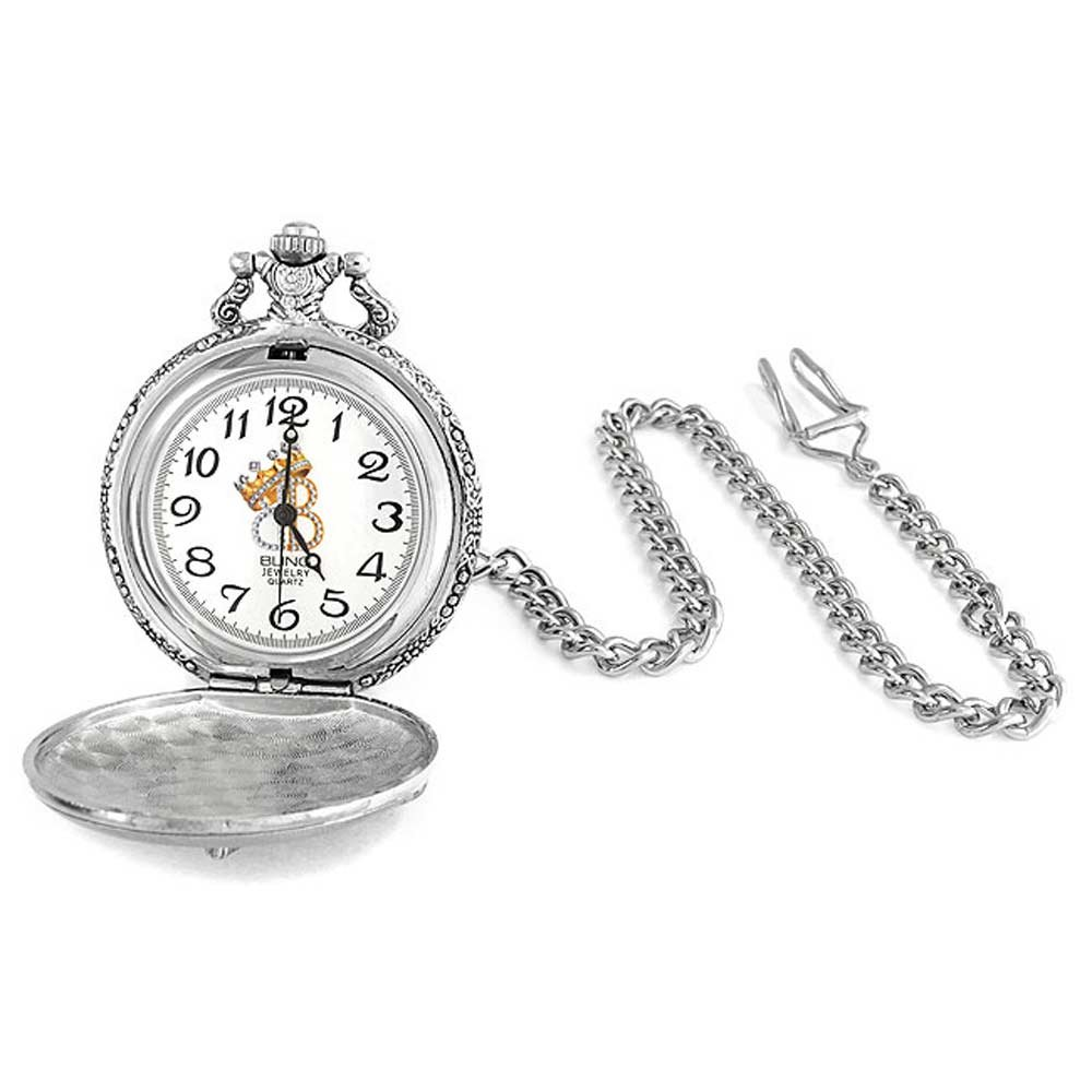 Bling Jewelry Large Antique Style Motorcycle Biker Mens Pocket Watch Rhodium Plated by Bling Jewelry (Image #2)