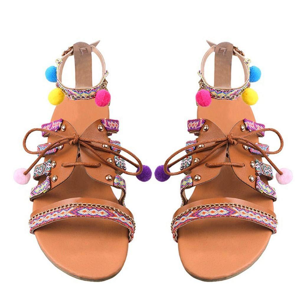Sandalias de Vestir, Malloom Sandalias Mujer Planas Bohemia Pompones Flat Zapato Punta Abierta Sandals Verano Playa (38, Bohemia)