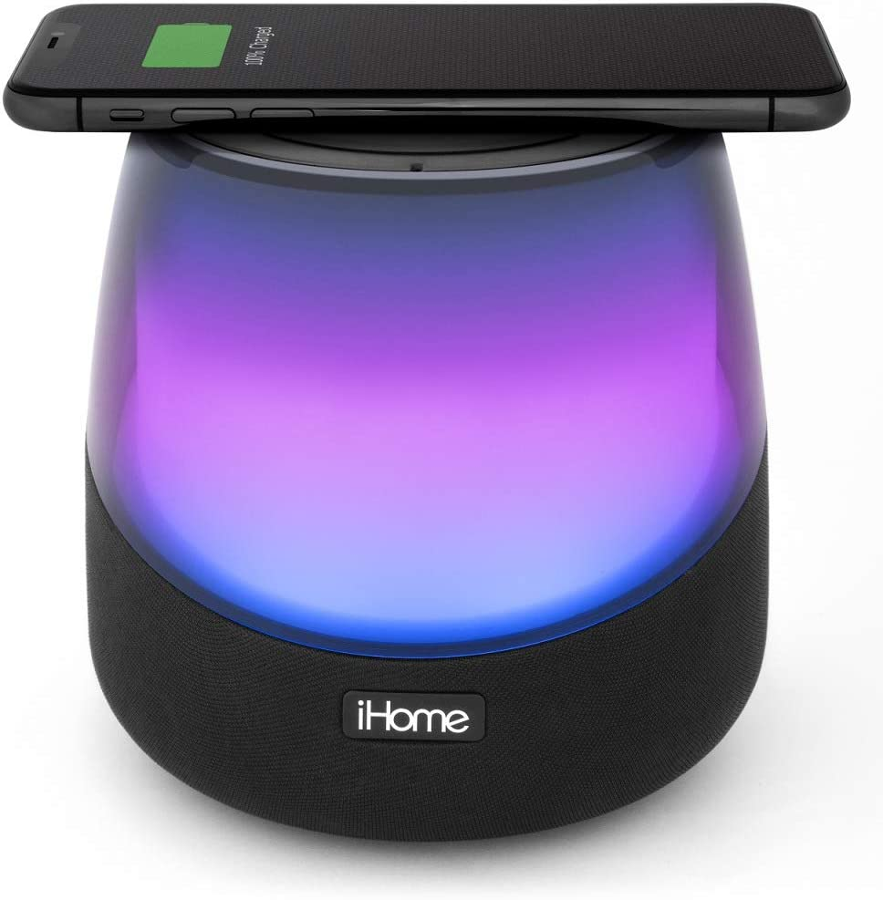 iHome iBTW10 Color Changing Bluetooth Speaker with Passive Subwoofer and  Built in Qi-Certified Wireless Charging Pad