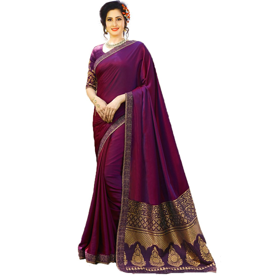 IndoPrimo Women's Silk Jacquard Wedding Wear Saree with Blouse Piece (Free Size, Multi Colour)