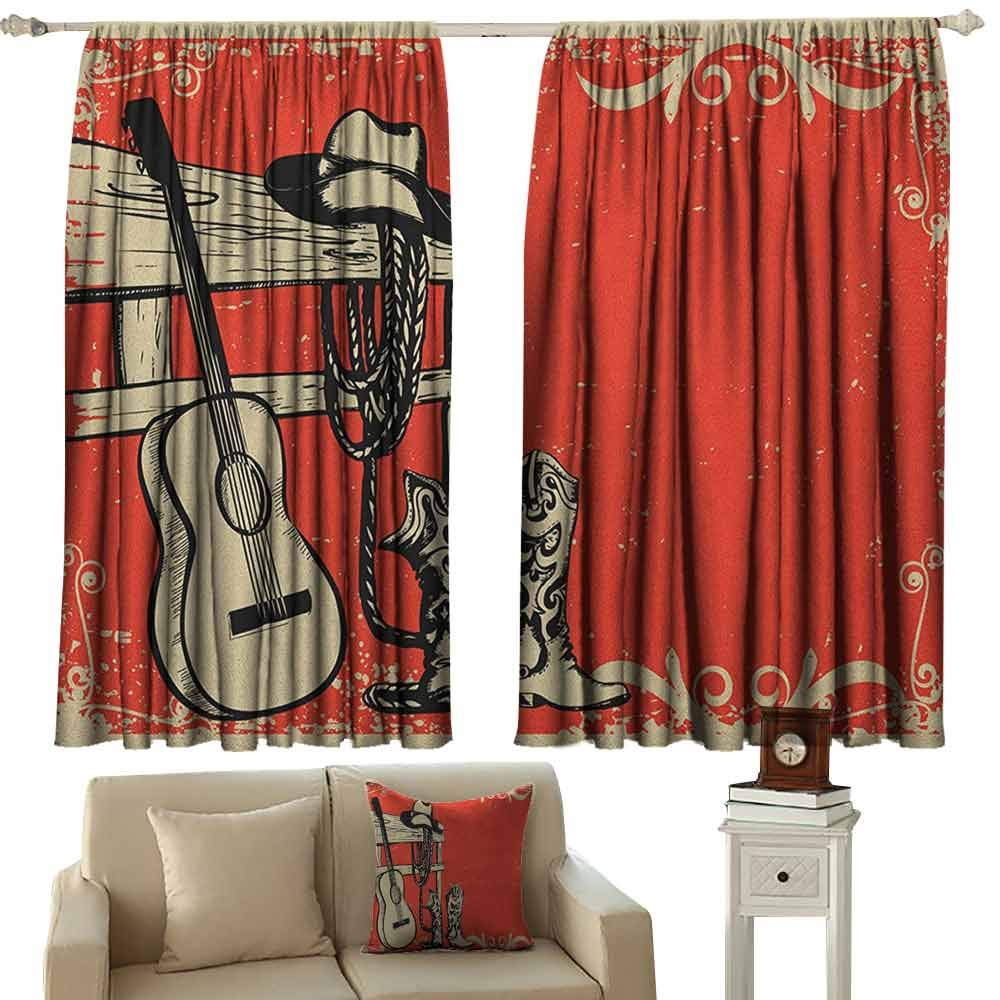 Western Shading Insulated Curtain Image of Wild West Elements with Country Music Guitar and Cowboy Boots Retro Art Soundproof Shade W100 x L63 Inch Beige Orange by GUUVOR
