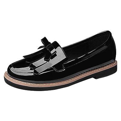 T&Grade Women Fashion Round Toe Tassel Bowknot Slip On Flat Board Walking Loafer Shoes