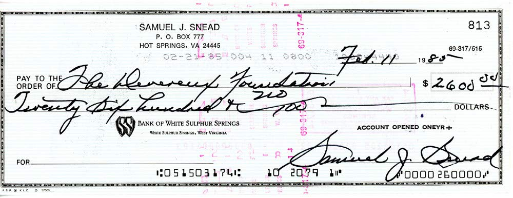 Sam Snead Autographed Signed Auto 3x8.5 Check #813 Certified Authentic