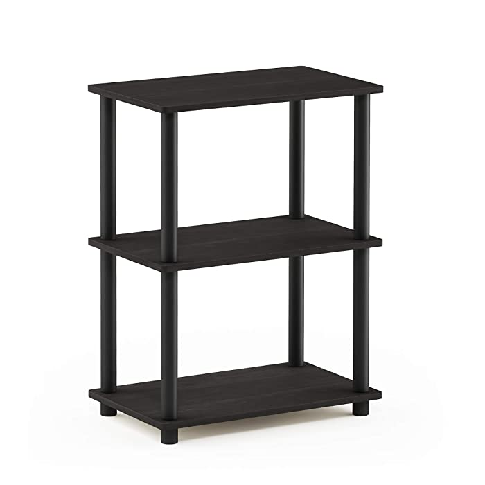 Furinno 18061EX/BK Turn-N-Tube 3-Tier Storage Shelf, Narrow, French Oak Grey/Black