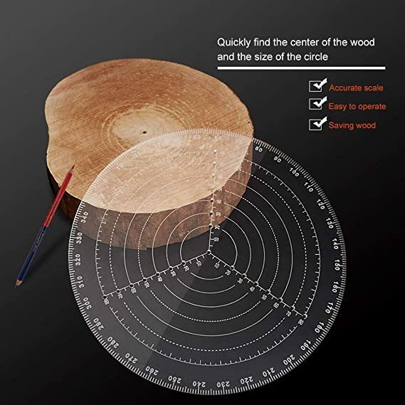 12inch 30cm 20cm//8-inch or 30cm//12-inch joyMerit Round Center Finder Compass for Wood Turners Lathe Work Clear Acrylic Drawing Circles Diameter