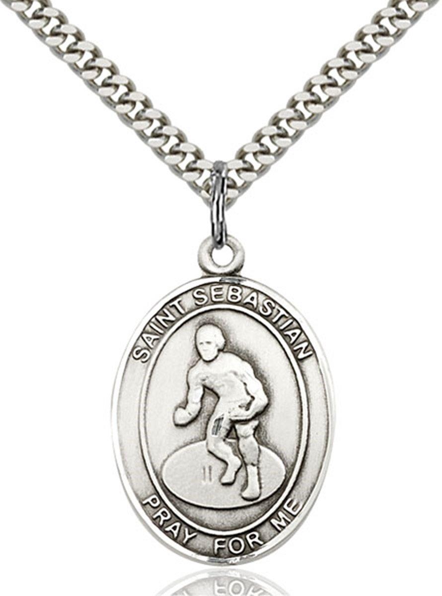 Sterling Silver Saint Sebastian Wrestling Medal Pendant, 1 Inch by bliss