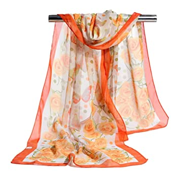 0999231f50a97 Image Unavailable. Image not available for. Color: Sothread Fashion Women  Rose Chiffon Soft Wrap Scarf Ladies Shawl Scarf Scarves ...