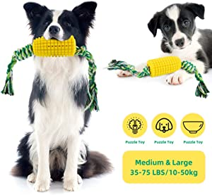 LitaiL Corn Shaped Dog Chew Rope Toy for Boredom Puppy Large and Medium Dog Bite-Resistant Pet Chew Molar Toys with Food Dispensing Dental Care Features Training IQ Dog Toy