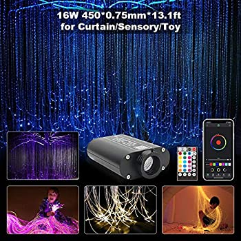 Image of CHINLY Bluetooth 16W RGBW Fiber Optic Curtain Light Kit, APP/Remote Flash Point Waterfall Lighting Kids Sensory Light Home Decor 450pcs0.03in13.1ft Home Improvements