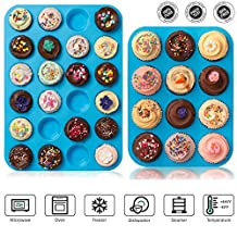Bigear Silicone Mold Cupcake Pans Set of 2, One 12 Cup Size & One 24 Cup Mini Size, Non stick Muffin Baking Pans Cupcake Maker, Microwave and Dishwasher Safe,Blue