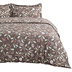 "Bedsure Duvet Cover Set with Zipper Closure Blanck Printed Blossom Pattern Modern King (104""x90"")-3 Pieces (1 Duvet Cover + 2 Pillow Shams) Ultra Soft Hypoallergenic Microfiber"