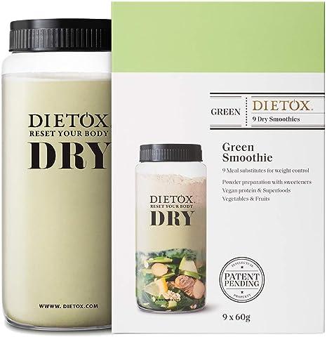 Dietox Dry Smoothies   Batidos de Proteínas Veganos Sustitutivos de comidas sabor Batido Verde 9 x 60gr