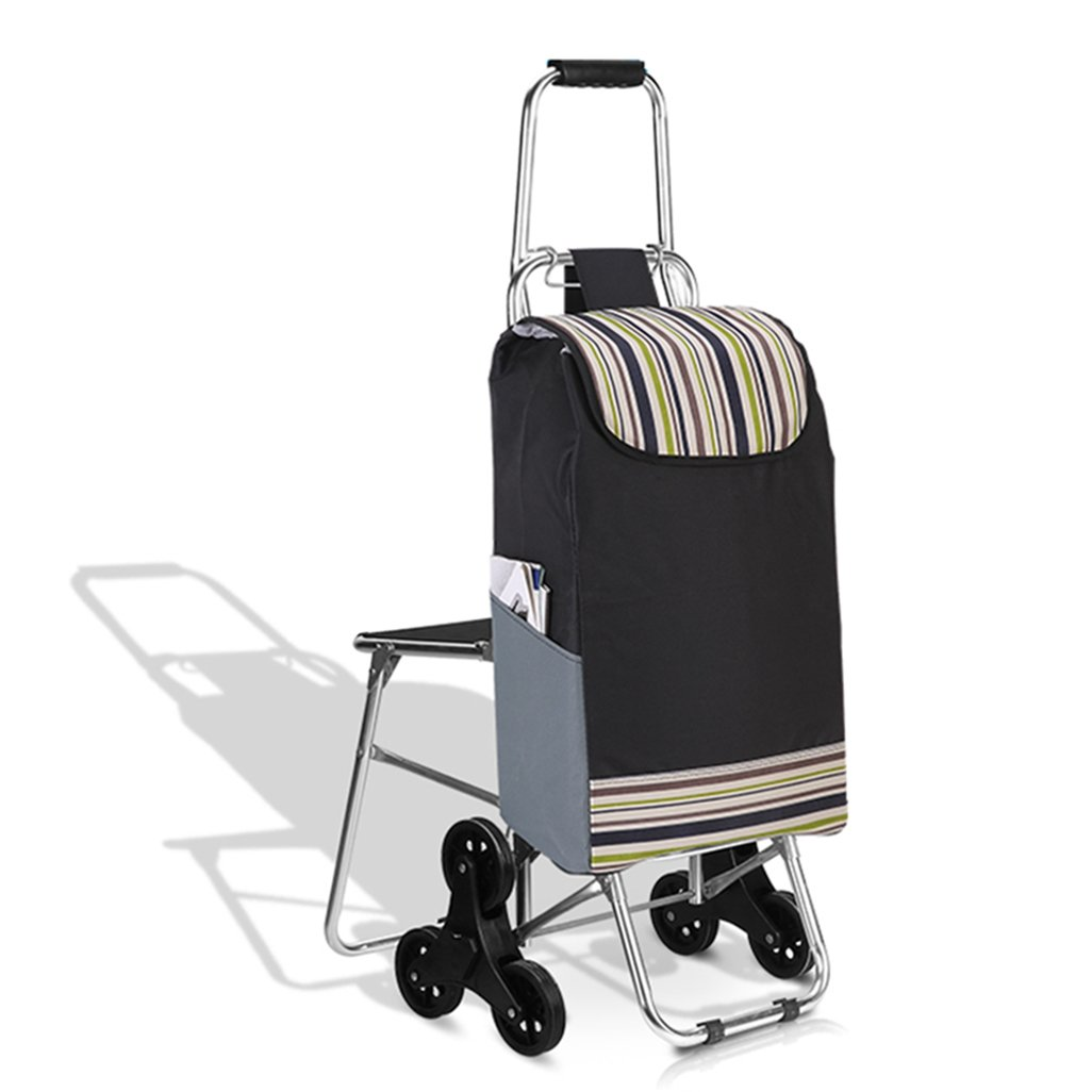 Trolley Folding Shopping Trolley, Grocery Cart with Six Fixed WheelsFolding Shopping Cart, Stair Climbing Cart Luggage Cart with Wheels Detachable Backpack/Storage Bag,Folding Seat by WZL