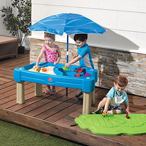Step2 Cascading Cove Sand & Water Table with Umbrella | Kids Sand & Water Play Table with Umbrella | 6-pc Accessory Set Included