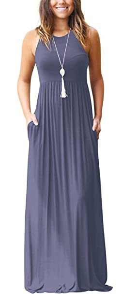 ccf3baf18f8 Euovmy Women s Summer Sleeveless Casual Long Maxi Dresses Solid Loose  Dresses with Pocket Purple Grey
