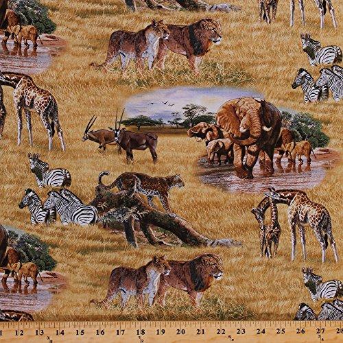 Elephants Cheetahs Zebras Giraffes Sable Antelope Wildcats African Animals Plains Savannah Safari Landscape Scenic Nature Wildlife Cotton Fabric Print by the Yard (5015MULTI) (African Safari Fabric)