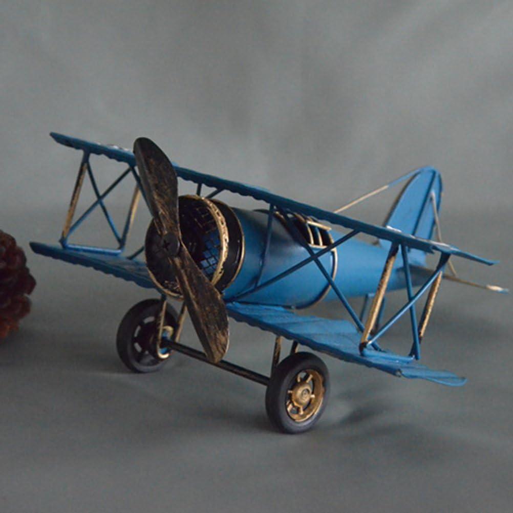 VORCOOL Vintage Flugzeug Modell Metall Doppeldecker Flugzeug Skulptur Dekoration Geschenkidee Blau