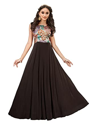 CRAZYBACHAT Latest Indian Designer Brown Color Fancy Fabric Fancy ...