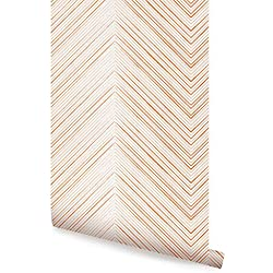 Chevron Lines Orange Peel & Stick Fabric Wallpaper Repositionable