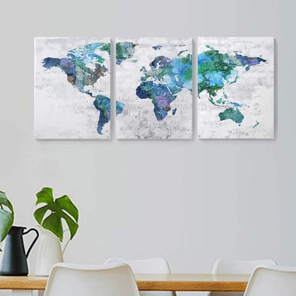 Wall Art for Living Room Wall Decor for Bedroom Abstract Canvas Wall Art World Map Canvas Prints 12x16x3 Framed Wall Art Easy to Hang Wall Decorations Modern Popular Wall Decoration